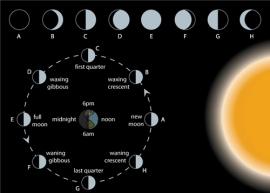 توضيح مع أسماء مراحل إكتمال القمر - بالإنجليزية